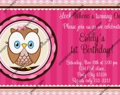 Owl look whoo's, Cute Little Owl Birthday Invitation - Digital File card 2