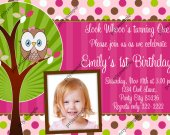Owl look whoo's, Cute Little Owl Birthday Photo Invitation - Digital File card 3