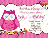 Owl look whoo's, Cute Little Owl Birthday Invitation - Digital File card 4