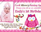 Owl look whoo's, Cute Little Owl Birthday Photo Invitation - Digital File card 6