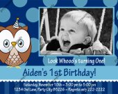Owl look whoo™s Boy Blue Birthday Photo Invitation - Digital File card 7