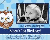 Owl look whoo™s Boy Blue Birthday Photo Invitation - Digital File card 8