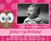 Owl look whoo&trade;s Girl Pink Birthday Photo Invitation - Digital File card 9