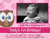 Owl look whoo's Girl Pink Birthday Photo Invitation - Digital File card 10