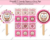 "Owl look whoos 2"" - Cupcake Toppers - Favor Tags - Stickers - Address Labels - Envelope Seals - Digital File"