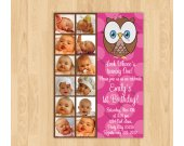 Look Whoos Turning one invitation - OWL Theme - 1st Birthday Girl - 12 months 1 year Photo Birthday Party Invitation