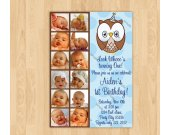 Look Whoos Turning one invitation - OWL Theme - 1st Birthday Boy - 12 months 1 year Photo Birthday Party Invitation