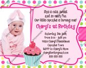 Cute Cupcake Birthday Invitation  - Digital File card1