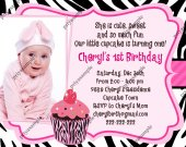 Cute Cupcake Birthday Invitation Pink Zebra print  - Digital File card 2