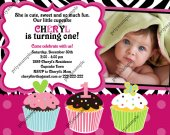 Cupcake hot pink, black, and white zebra print Photo Birthday Invitation - Digital File card 3