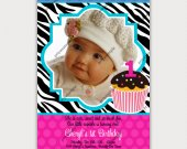 Cupcake hot pink, black, and white zebra print Photo Birthday Invitation - Digital File card 4