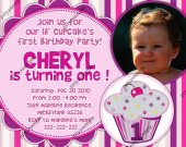 Girls Lil Cupcake First Birthday Photo Invitation or Birth announcement - Digital File card 5