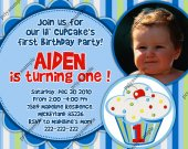 Boys Lil Cupcake First Birthday Photo Invitation or Birth announcement - Digital File card 6