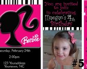 Barbie Silhouette Birthday Party Photo Invitation You Print Digital File