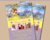 Belle Beauty and the Beast Girls Party Invitations