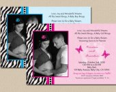 Zebra and Butterflies Baby Shower Invitation
