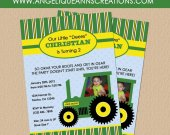 John Deere tractor Invitations for boys
