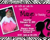 Barbie Personalized Photo Birthday Invitation You Print (digital file) Zebra  Silhouette
