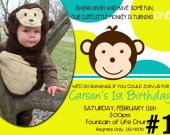 Mod Monkey Personalized Photo Birthday Invitation You Print (digital file)