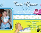 Alice in Wonderland  Photo Birthday Invitation Personalized You Print Digital File