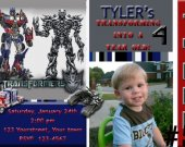 20 Transformers Personalized Photo Birthday Invitation Prints Includes Envelopes