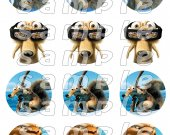 Ice Age Set of 12 2.5 Inch Round Personalized Stickers or Cupcake Toppers