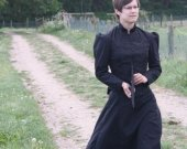 Victorian Bustle Dress Mourning Gown Gothic Historical Costume