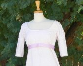 Regency Dress Short Sleeve Jane Austen Empire Costume Historical