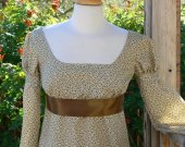Regency Dress Cotton Floral Empire Waist Historical Costume