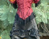 Victorian Bustle Skirt Historical Satin Saloon Girl Burlesque Costume