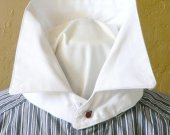 Victorian Detachable Collar Mens Button On Tie Jabot Neckband Cotton Historical Costume