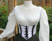 Renaissance Underbust Bodice Pirate Wench Canvas Waist Cincher Grommets Historical Costume