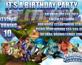 Skylanders Personalized 4x6 Birthday Party Invitations