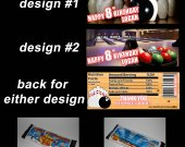 Bowling Set of 12 Personalized Candy Bar Wrappers Party Favors