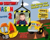Construction Pals Custom Photo Birthday Invitation Digital File You Print