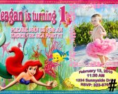 20 Printed Little Mermaid Ariel Birthday Invitations Photo