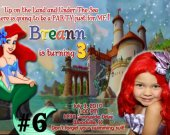 20 Printed Little Mermaid Ariel Birthday Invitations Photo (2)
