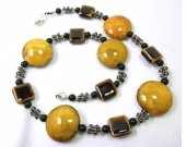 Mustard Yellow & Brown Porcelain Necklace