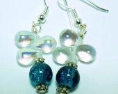 Blue Crackle and Clear Teardrop Earrings