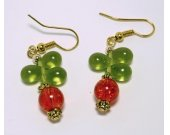 Orange Crackle and Green Teardrop Glass Earrings
