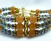 Peacock Freshwater Pearl and Caramel Glass Set