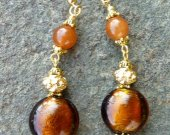 Coffee Foil and Caramel Glass Earrings