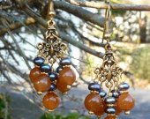 Peacock Freshwater Pearl and Caramel Glass Earrings