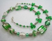Celtic Green Foil Glass Necklace