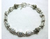 Sterling Silver Alphabet and Bali Beads Bracelet
