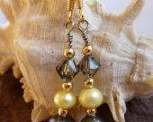 Navy Blue & Yellow Freshwater Pearl Dangling Earrings