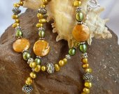 Amber and Olive Freshwater Pearl Necklace