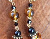 "Animal Print ""Cheetah"" Topaz and Jet Lampwork Earrings"