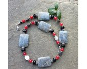Grey Marble Stone With Red and Black Crystal Necklace