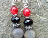 Grey Shell with Red and Jet Crystal Earrings